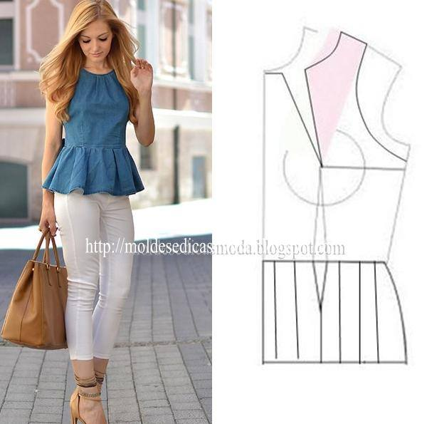 blusa jeans peplum feminina