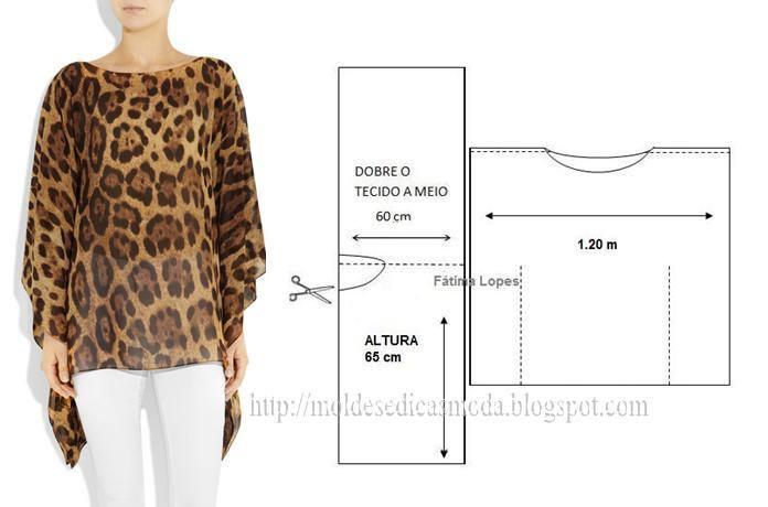 túnica estampada em tons leopardo