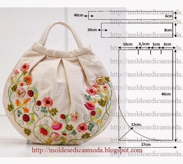 Bolsa Em Tecido Moldes : Bolsa em tecido bordada moldes moda por medida