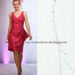 molde de vestido com drapeado lateral