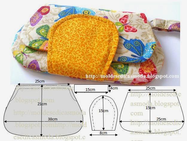 Bolsa De Mão Para O Dia A Dia : Pochete em tecido moldes moda por medida