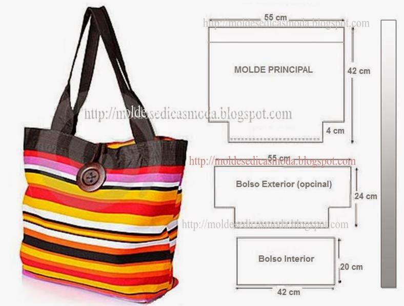 Bolsa com molde com medidas for Disenos de bolsos de tela