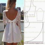 vestido de tecido e renda branco