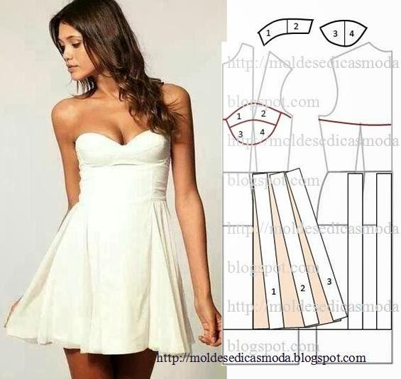 molde de vestido cai cai branco