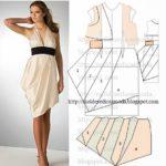 vestido assimétrico drapeado