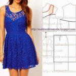 vestido de renda azul curto