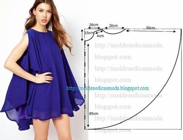 vestido godé azul