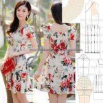 vestido floral com manga curta