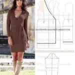 molde de vestido com transpasse