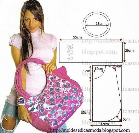 bolsa em tecido com molde