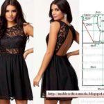 vestido preto com tecido e renda