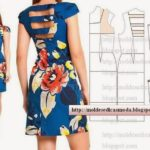 vestido azul curto floral feminino