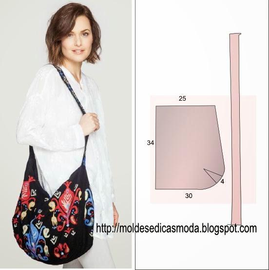 f5dcbb901 ... faça as pinças ou pence (o aspecto final fica um canto). Borde o tecido  com as suas cores favoritas. Esta bolsa é muito prática e útil para o  dia-a-dia.