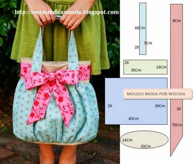 bolsa saco em tecido com laço