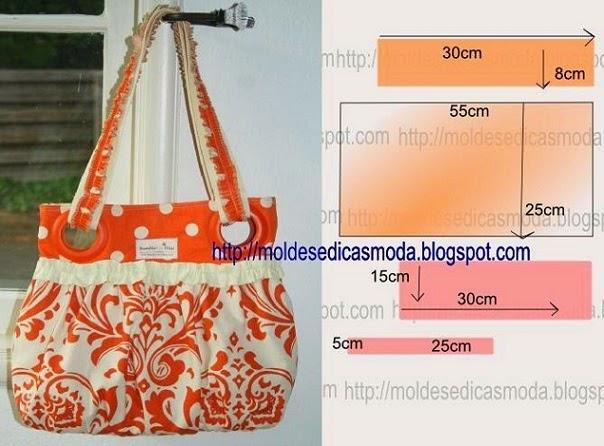Bolsa Em Tecido Moldes : Bolsa saco em tecido estampado molde passo a