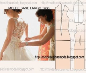 molde base de vestido largo