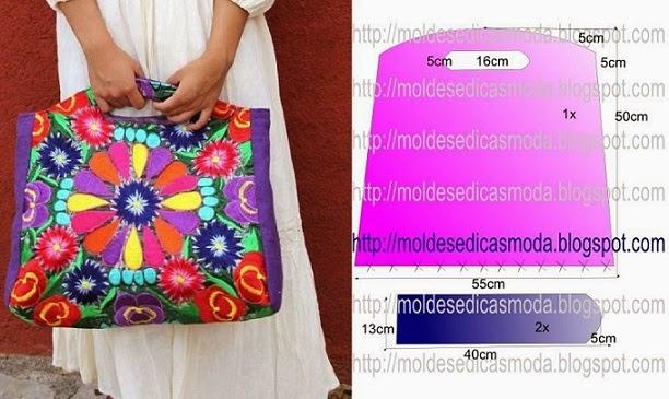 Bolsa De Tecido Facil : Bolsa colorida de tecido com molde passo a