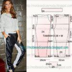 calça material sintético feminina