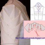 detalhes de modelação de manga, costas e saia