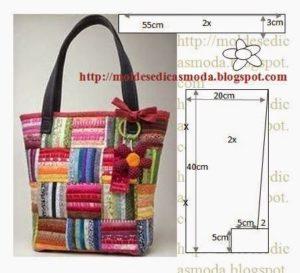 bolsa em retalhos de tecido