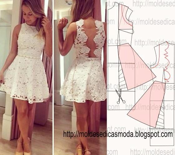 molde de vestido de renda