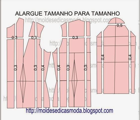 gradação de base de blusa