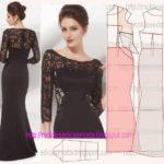vestido de renda e tecido