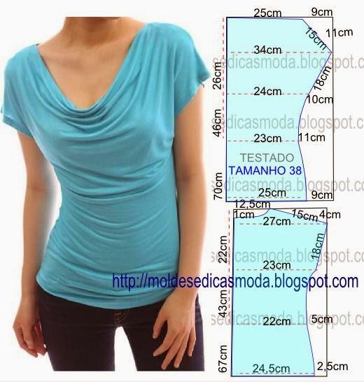 molde de blusa com drapeado