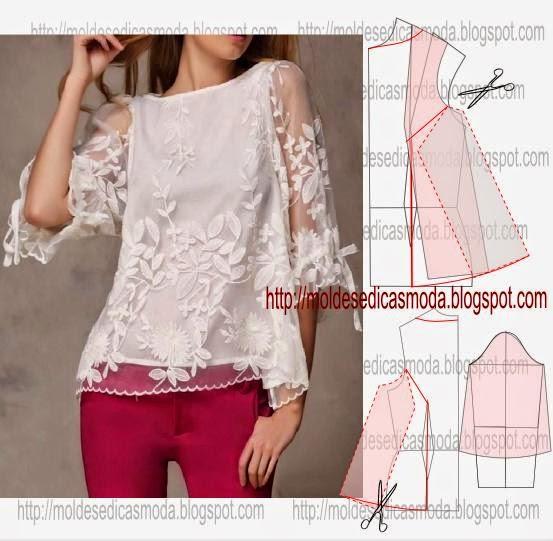 blusa com bordado de renda