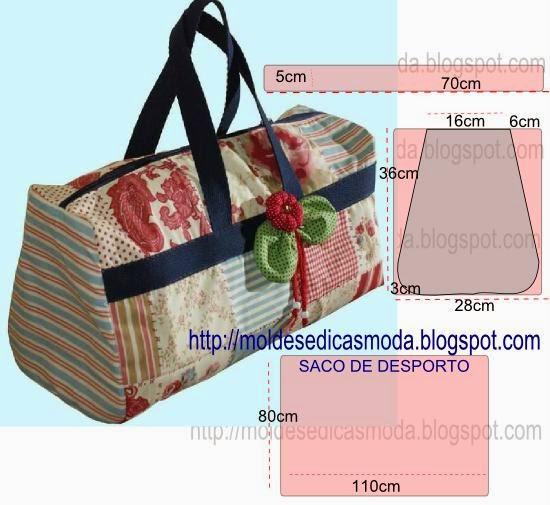 Bolsa De Viagem Em Tecido Passo A Passo : Molde de saco viagem em tecido com passo a
