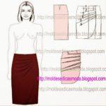 molde de saia com drapeado