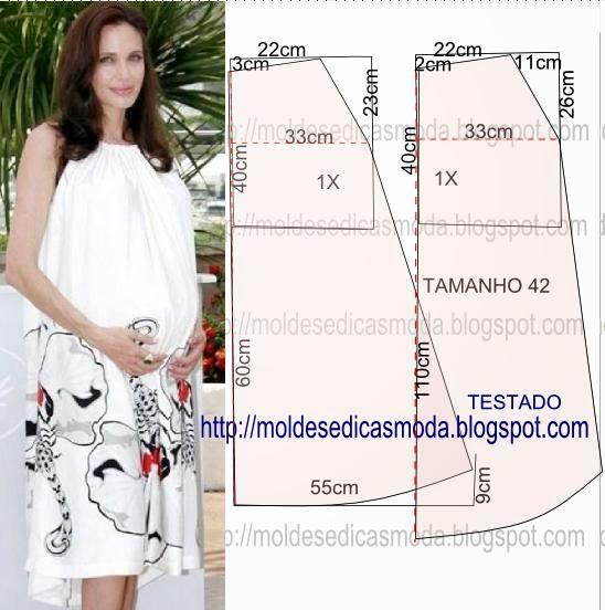 3164ab257a Costure as laterais do vestido. Faça os remates do decote virando para  dentro 2 cm ou uma tira em viés de forma a que passe uma fita.