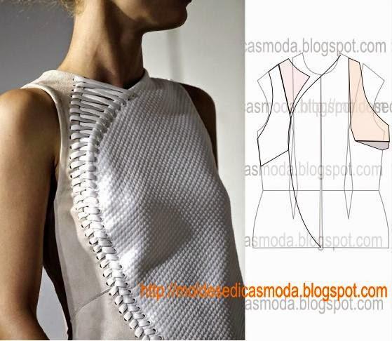 detalhes de modelação de mangas, frentes e costas
