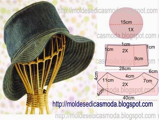 Molde de chapéu jeans com passo a passo de corte e costura 4b7d18884f9