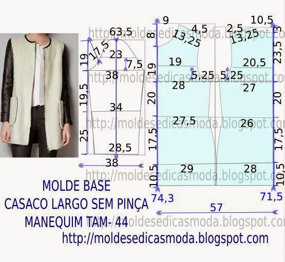 molde de casaco estilo channel
