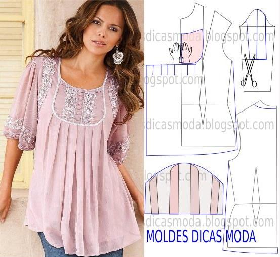 Blusa rosa com aplicações