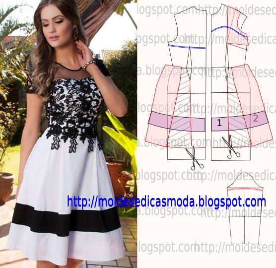 vestido branco com renda preta
