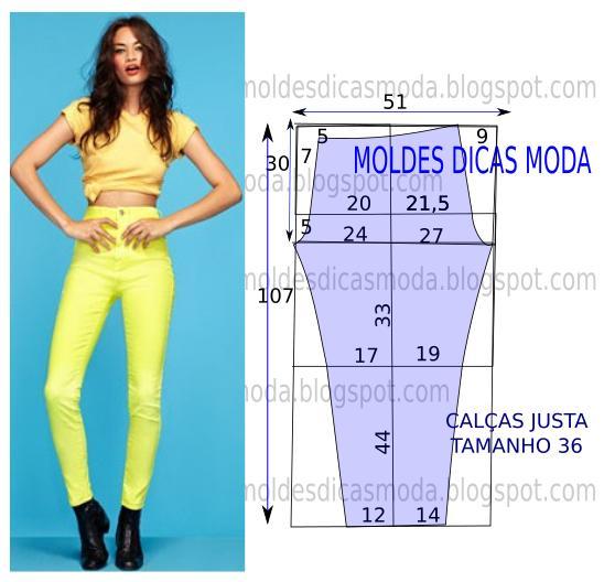 molde de calça amarela