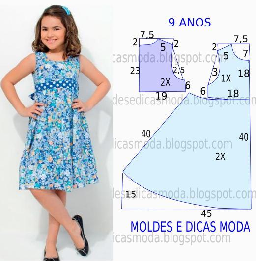vestido de criança azul