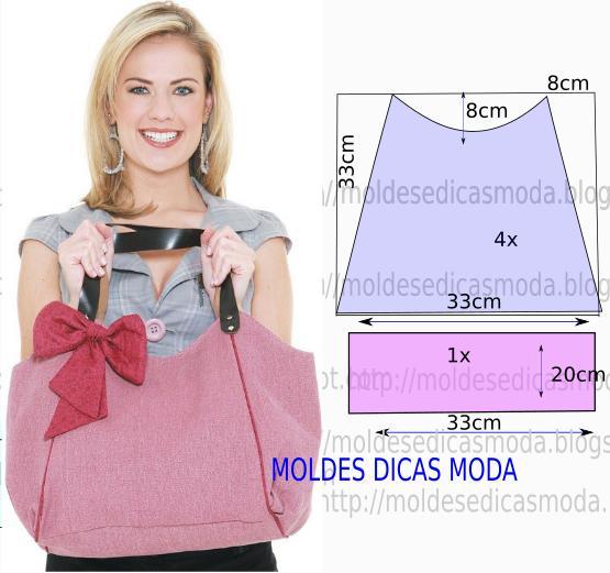 molde de bolsa em tecido