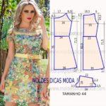 molde de vestido florido curto