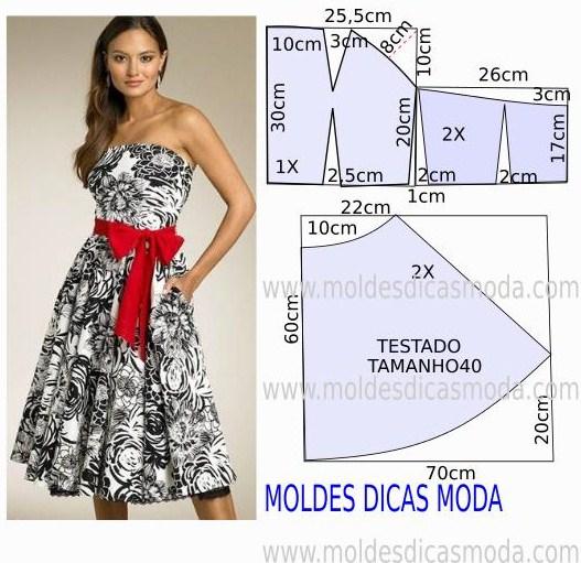 molde de vestido com cinto