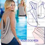 molde de blusa com drapeado nas costas