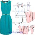 molde de vestido pregas no decote