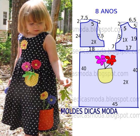 Molde de vestido com flores - Apliques infantiles de pared ...