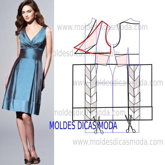 molde vestido azul