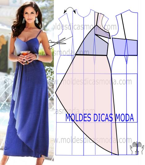 molde vestido azul drapeado
