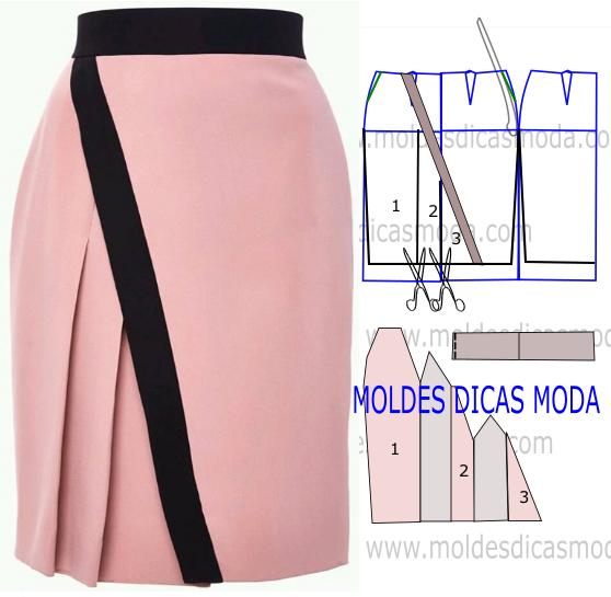 molde de saia rosa