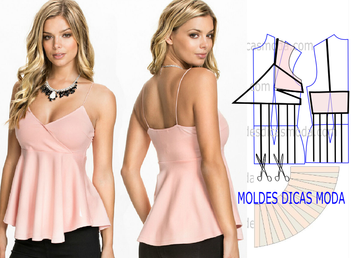 blusa rosa de alças
