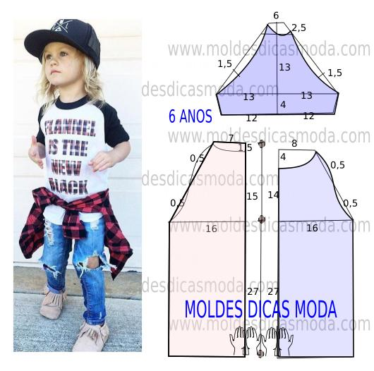 molde t-shirt de criança